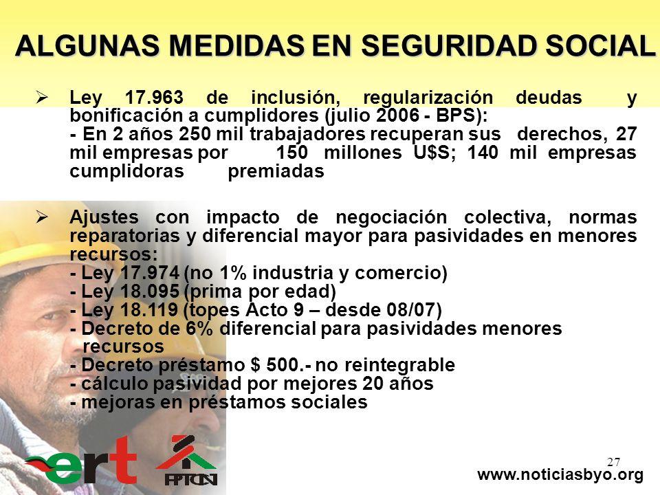 www.noticiasbyo.org 27 Ley 17.963 de inclusión, regularización deudas y bonificación a cumplidores (julio 2006 - BPS): -En 2 años 250 mil trabajadores