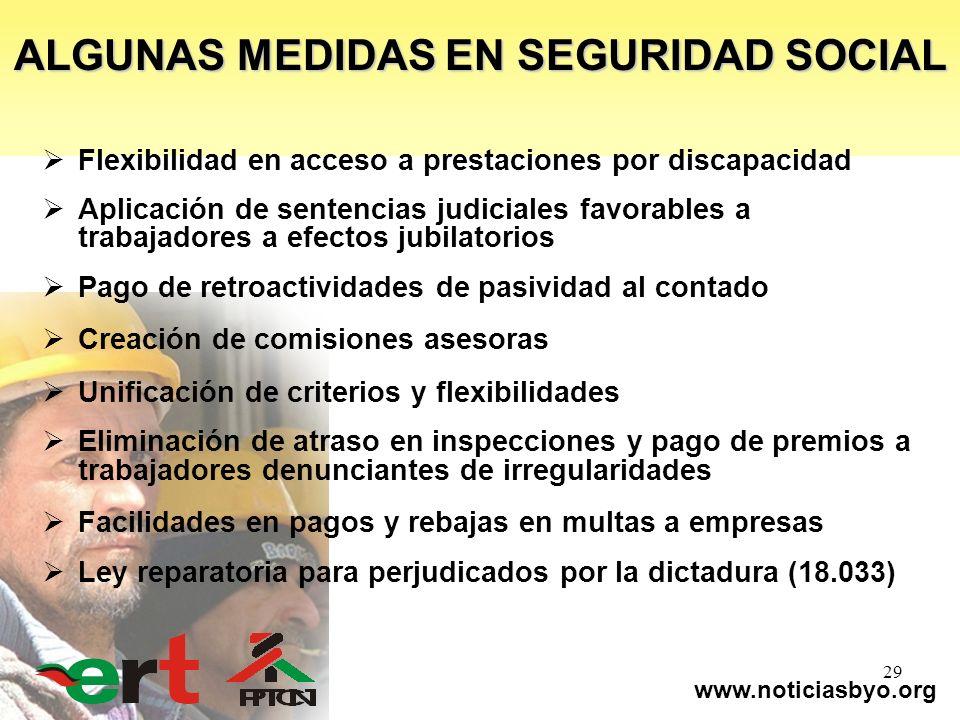 www.noticiasbyo.org 29 Flexibilidad en acceso a prestaciones por discapacidad Aplicación de sentencias judiciales favorables a trabajadores a efectos