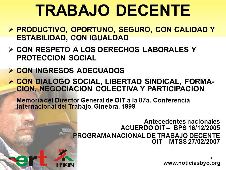 www.noticiasbyo.org 3 TRABAJO DECENTE PRODUCTIVO, OPORTUNO, SEGURO, CON CALIDAD Y ESTABILIDAD, CON IGUALDAD CON RESPETO A LOS DERECHOS LABORALES Y PRO