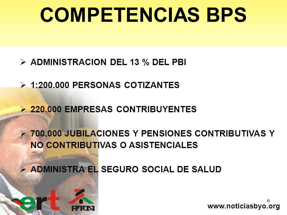 www.noticiasbyo.org 6 COMPETENCIAS BPS ADMINISTRACION DEL 13 % DEL PBI 1:200.000 PERSONAS COTIZANTES 220.000 EMPRESAS CONTRIBUYENTES 700.000 JUBILACIO