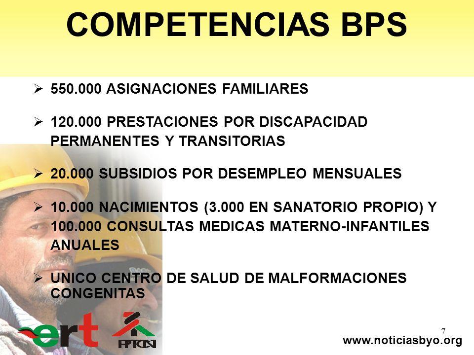 www.noticiasbyo.org 7 COMPETENCIAS BPS 550.000 ASIGNACIONES FAMILIARES 120.000 PRESTACIONES POR DISCAPACIDAD PERMANENTES Y TRANSITORIAS 20.000 SUBSIDI