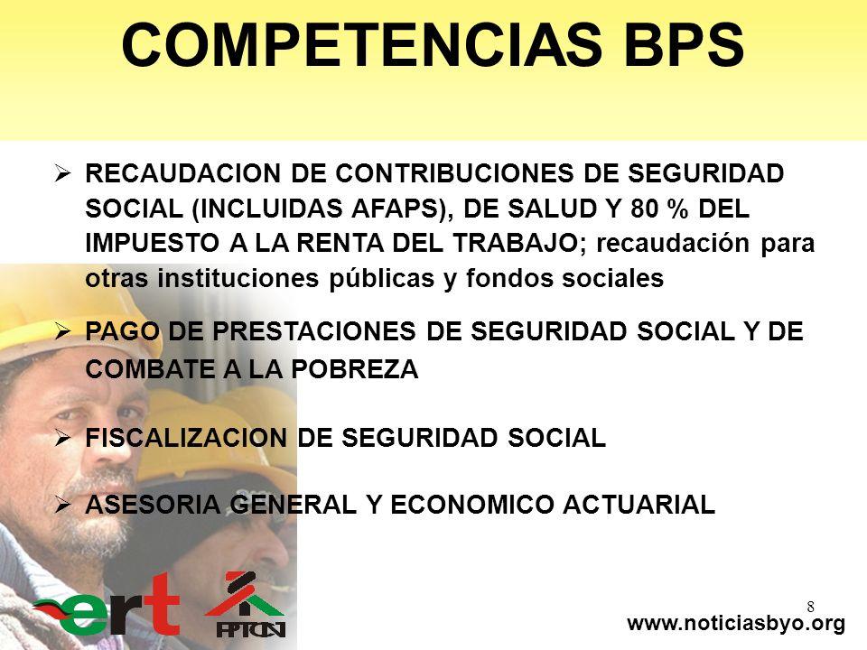 www.noticiasbyo.org 8 RECAUDACION DE CONTRIBUCIONES DE SEGURIDAD SOCIAL (INCLUIDAS AFAPS), DE SALUD Y 80 % DEL IMPUESTO A LA RENTA DEL TRABAJO; recaud