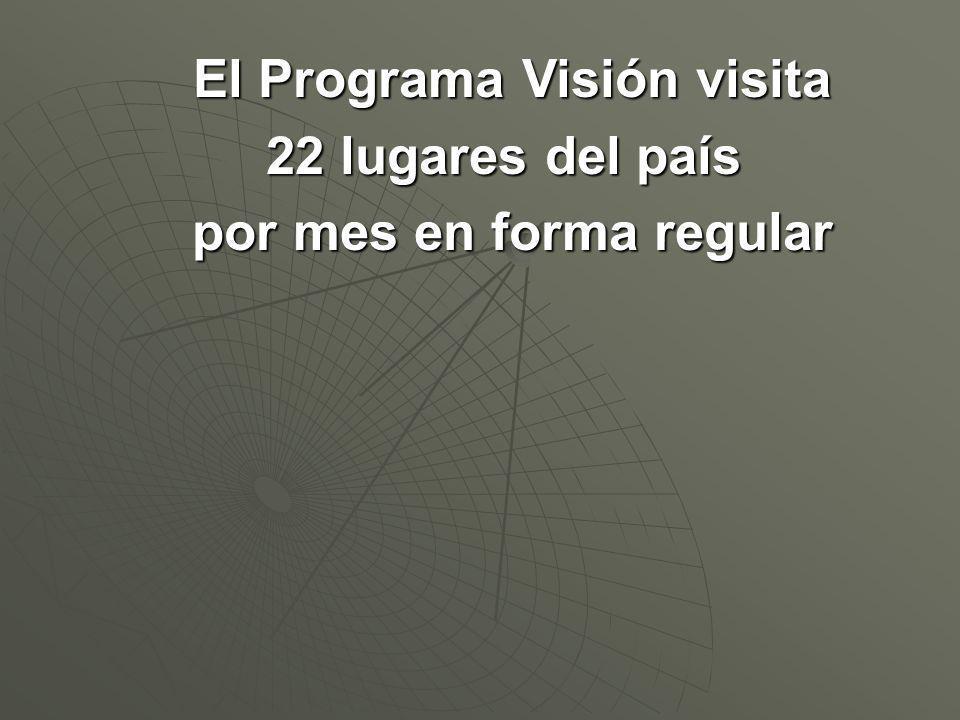 El Programa Visión visita 22 lugares del país por mes en forma regular