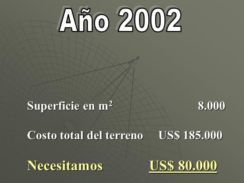 Superficie en m 2 8.000 Costo total del terreno US$ 185.000 Necesitamos US$ 80.000