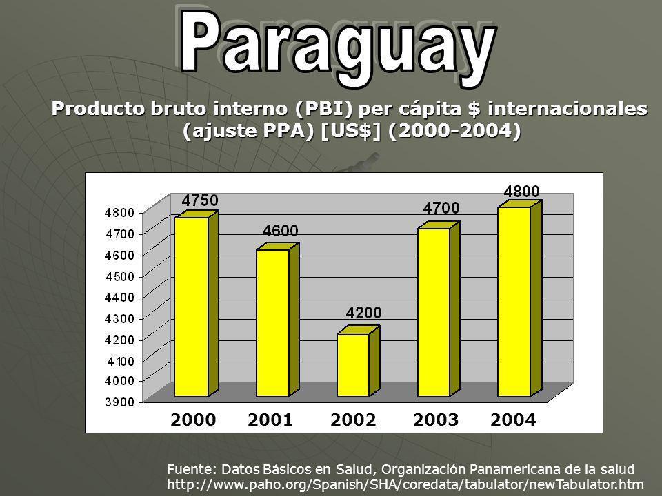 2000200120022003 Fuente: Datos Básicos en Salud, Organización Panamericana de la salud http://www.paho.org/Spanish/SHA/coredata/tabulator/newTabulator.htm Producto bruto interno (PBI) per cápita $ internacionales (ajuste PPA) [US$] (2000-2004) 2004