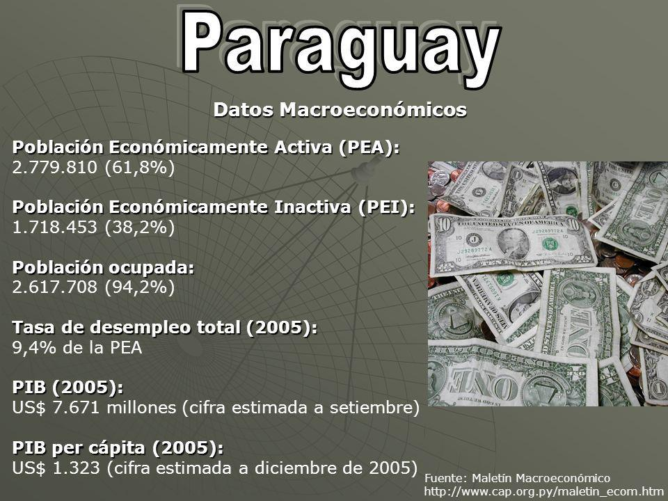 Fuente: Maletín Macroeconómico http://www.cap.org.py/maletin_ecom.htm Población Económicamente Activa (PEA): 2.779.810 (61,8%) Población Económicamente Inactiva (PEI): 1.718.453 (38,2%) Población ocupada: 2.617.708 (94,2%) Tasa de desempleo total (2005): 9,4% de la PEA PIB (2005): US$ 7.671 millones (cifra estimada a setiembre) PIB per cápita (2005): US$ 1.323 (cifra estimada a diciembre de 2005) Datos Macroeconómicos