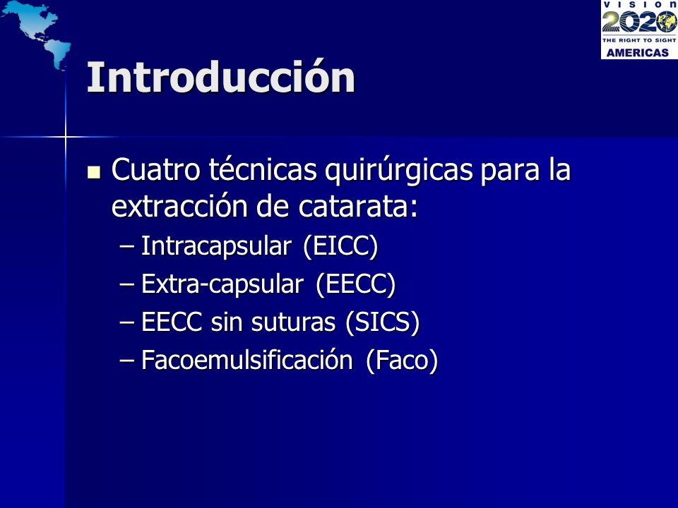 Introducción Cuatro técnicas quirúrgicas para la extracción de catarata: Cuatro técnicas quirúrgicas para la extracción de catarata: –Intracapsular (E