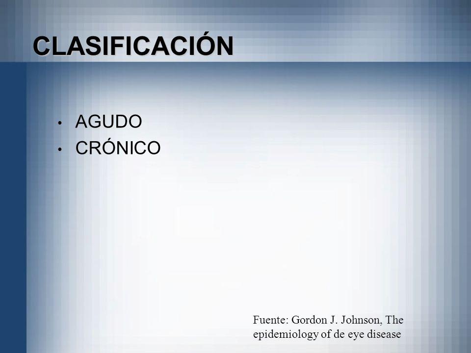CLASIFICACIÓN AGUDO CRÓNICO Fuente: Gordon J. Johnson, The epidemiology of de eye disease