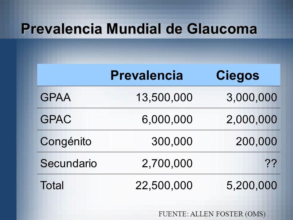 Prevalencia Mundial de Glaucoma PrevalenciaCiegos GPAA13,500,0003,000,000 GPAC6,000,0002,000,000 Congénito300,000200,000 Secundario2,700,000?? Total22