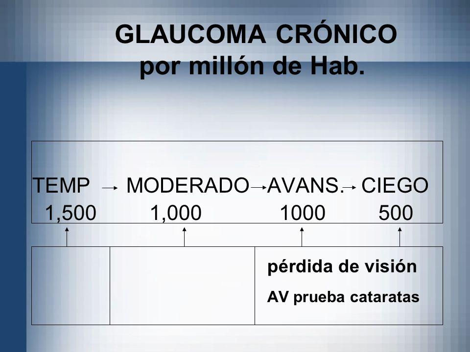 GLAUCOMA CRÓNICO por millón de Hab. TEMPMODERADOAVANS.CIEGO 1,500 1,000 1000 500 pérdida de visión AV prueba cataratas