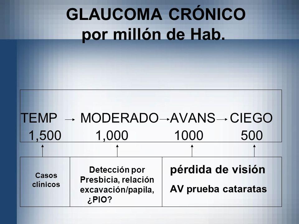 GLAUCOMA CRÓNICO por millón de Hab. TEMPMODERADOAVANSCIEGO 1,500 1,000 1000 500 pérdida de visión AV prueba cataratas Detección por Presbicia, relació