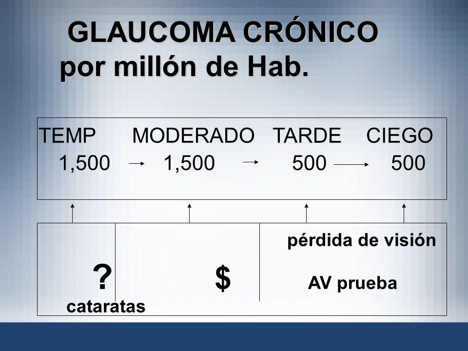 GLAUCOMA CRÓNICO por millón de Hab. GLAUCOMA CRÓNICO por millón de Hab. TEMPMODERADOTARDECIEGO 1,500 1,500 500 500 pérdida de visión ? $ AV prueba cat