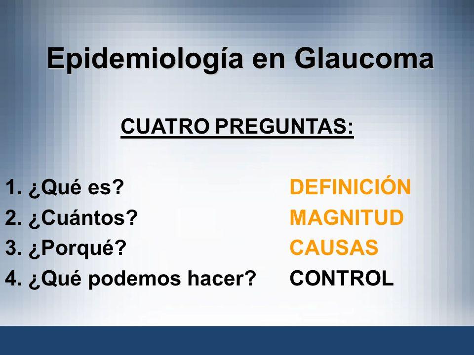 Epidemiología en Glaucoma CUATRO PREGUNTAS: 1. ¿Qué es?DEFINICIÓN 2. ¿Cuántos? MAGNITUD 3. ¿Porqué? CAUSAS 4. ¿Qué podemos hacer?CONTROL