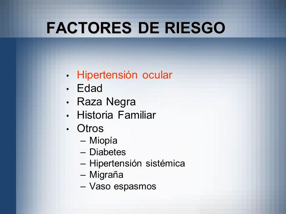 FACTORES DE RIESGO Hipertensión ocular Edad Raza Negra Historia Familiar Otros –Miopía –Diabetes –Hipertensión sistémica –Migraña –Vaso espasmos