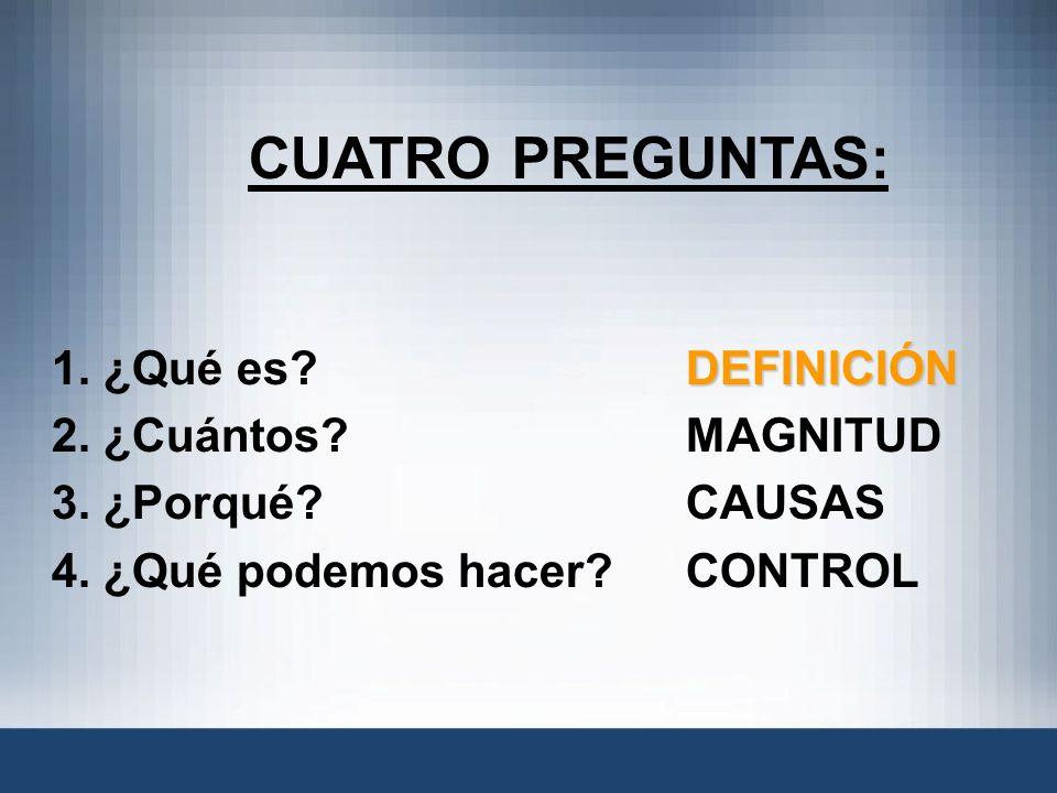 CUATRO PREGUNTAS: DEFINICIÓN 1. ¿Qué es?DEFINICIÓN 2. ¿Cuántos? MAGNITUD 3. ¿Porqué? CAUSAS 4. ¿Qué podemos hacer?CONTROL