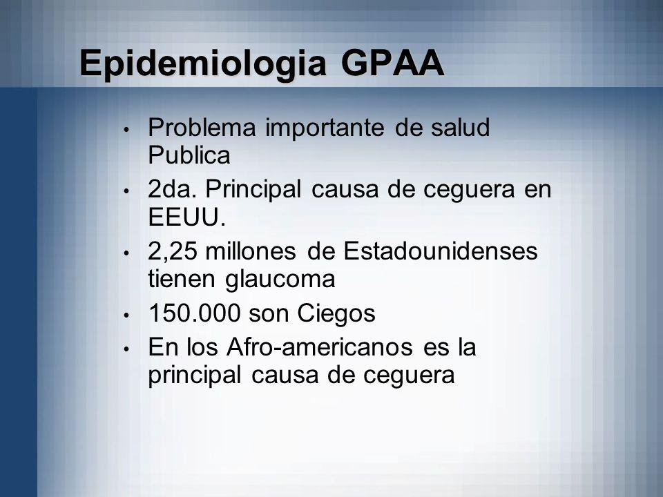 Epidemiologia GPAA Problema importante de salud Publica 2da. Principal causa de ceguera en EEUU. 2,25 millones de Estadounidenses tienen glaucoma 150.