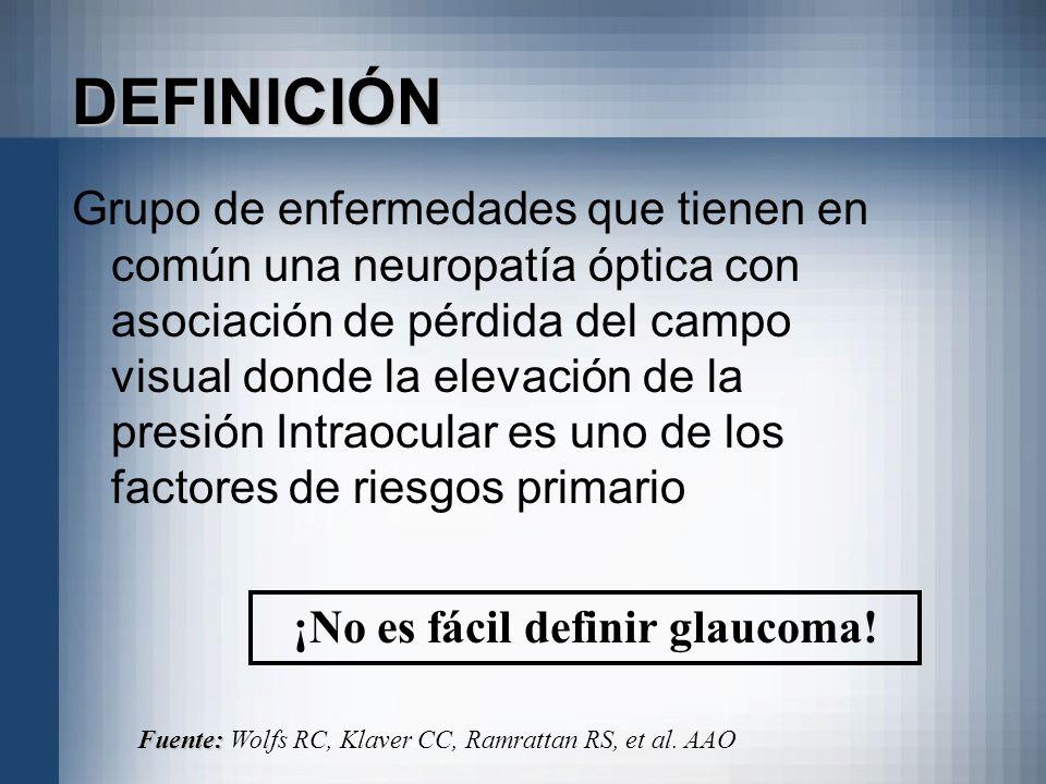DEFINICIÓN Grupo de enfermedades que tienen en común una neuropatía óptica con asociación de pérdida del campo visual donde la elevación de la presión