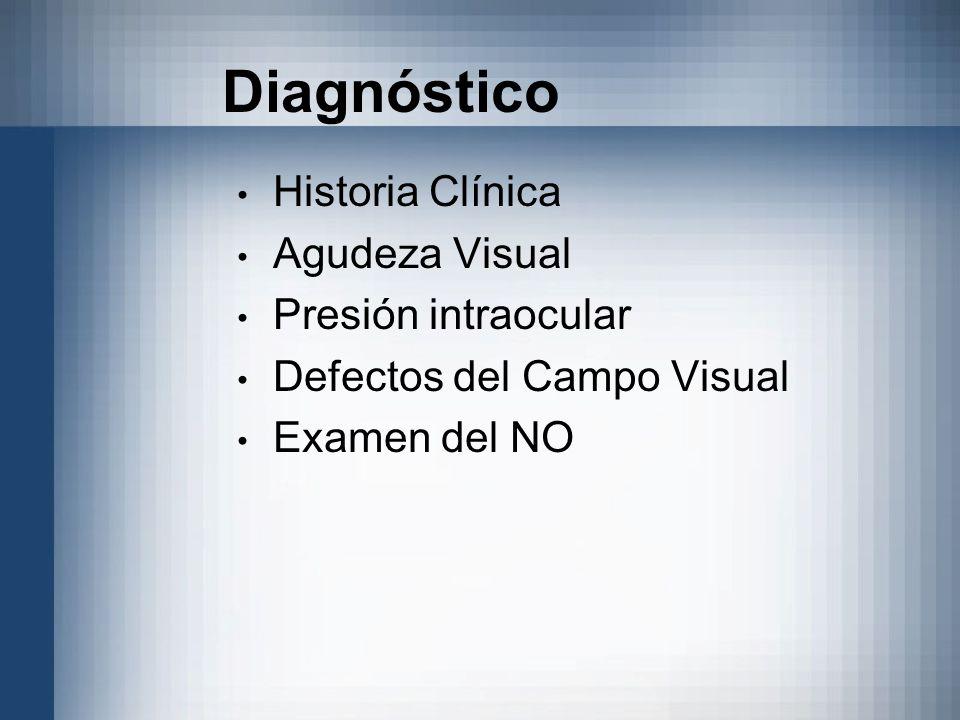 Historia Clínica Agudeza Visual Presión intraocular Defectos del Campo Visual Examen del NO Diagnóstico