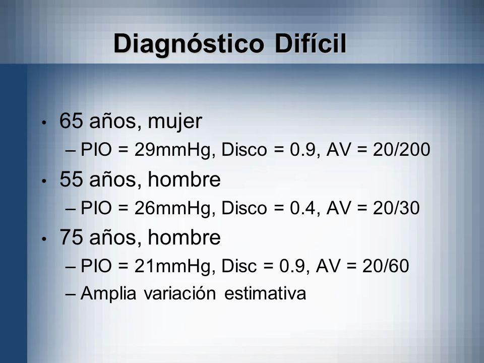 Diagnóstico Difícil 65 años, mujer –PIO = 29mmHg, Disco = 0.9, AV = 20/200 55 años, hombre –PIO = 26mmHg, Disco = 0.4, AV = 20/30 75 años, hombre –PIO