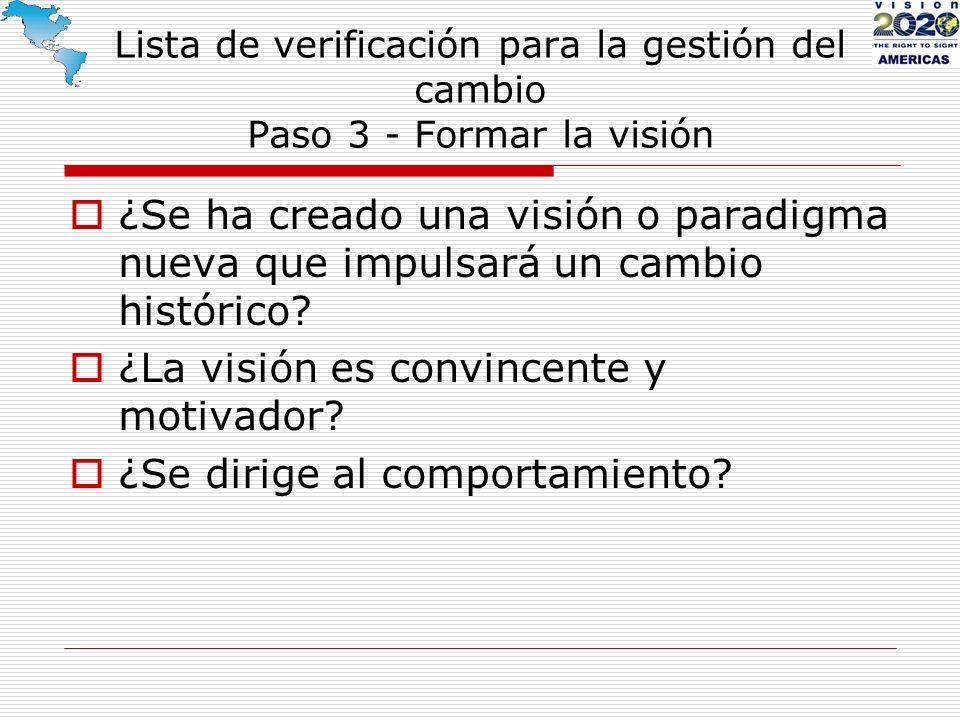 Lista de verificación para la gestión del cambio Paso 3 - Formar la visión ¿Se ha creado una visión o paradigma nueva que impulsará un cambio históric