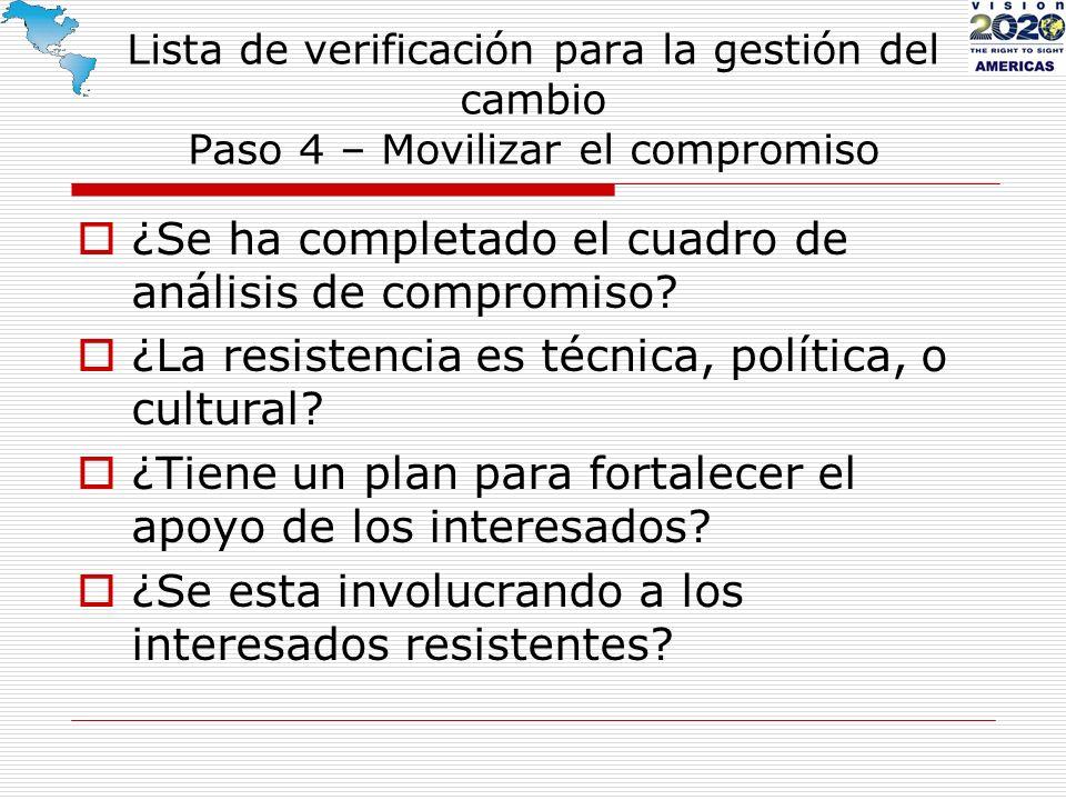 Lista de verificación para la gestión del cambio Paso 4 – Movilizar el compromiso ¿Se ha completado el cuadro de análisis de compromiso? ¿La resistenc