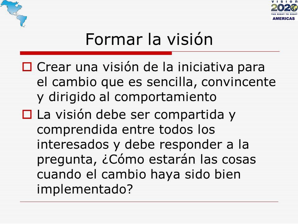 Formar la visión Crear una visión de la iniciativa para el cambio que es sencilla, convincente y dirigido al comportamiento La visión debe ser compart