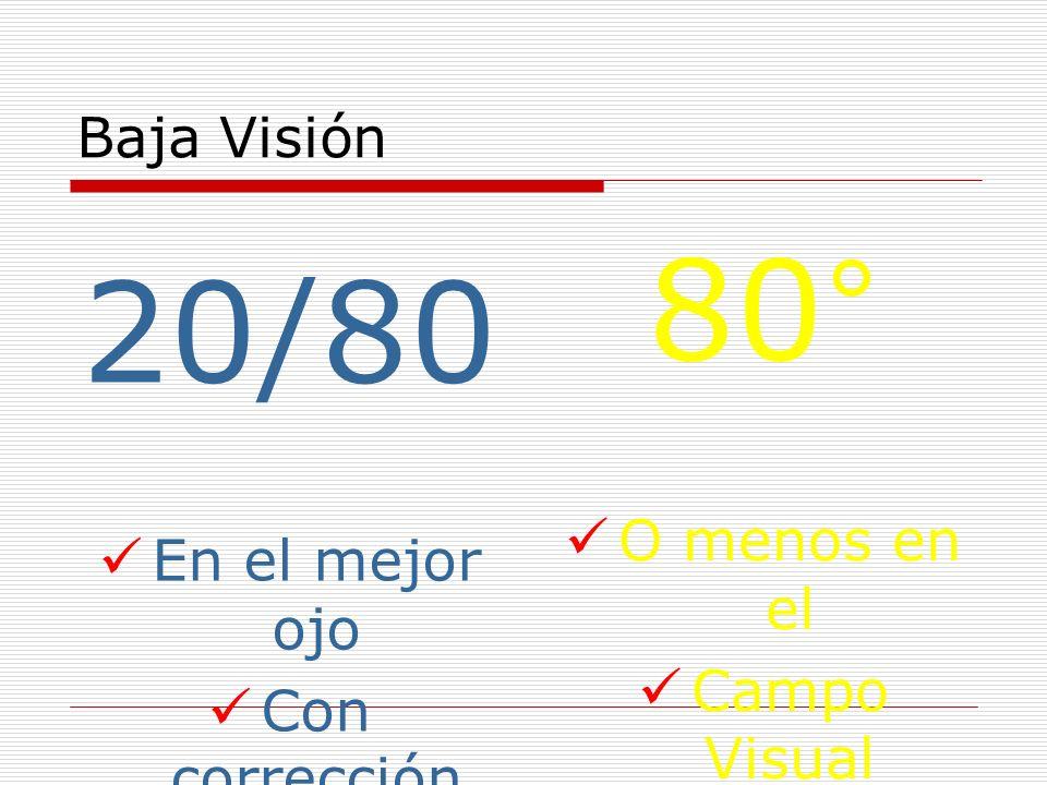 Baja Visión 20/80 En el mejor ojo Con corrección 80° O menos en el Campo Visual