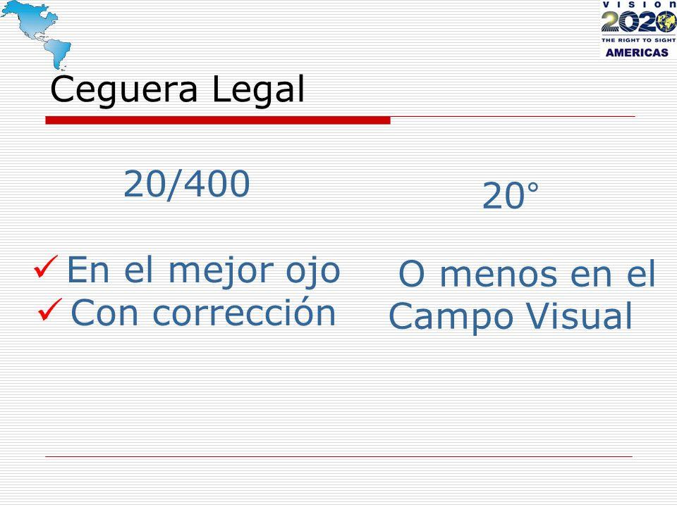 Ceguera Legal 20/400 En el mejor ojo Con corrección 20° O menos en el Campo Visual