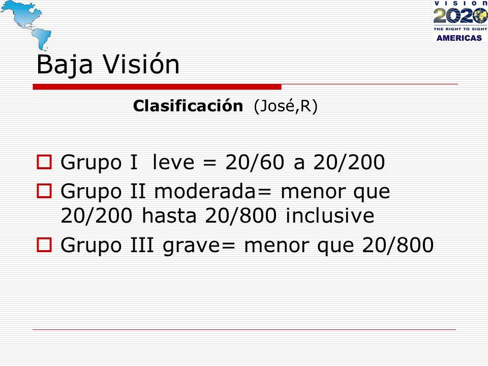 Baja Visión Clasificación (José,R) Grupo I leve = 20/60 a 20/200 Grupo II moderada= menor que 20/200 hasta 20/800 inclusive Grupo III grave= menor que