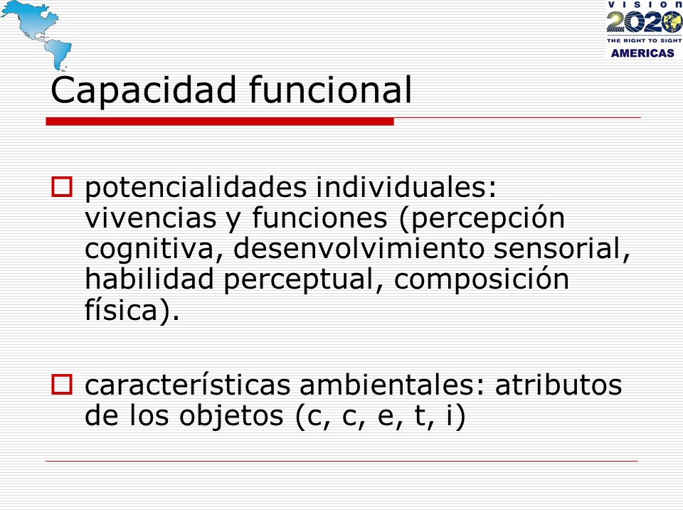 Capacidad funcional potencialidades individuales: vivencias y funciones (percepción cognitiva, desenvolvimiento sensorial, habilidad perceptual, compo