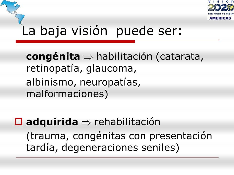 La baja visión puede ser: congénita habilitación (catarata, retinopatía, glaucoma, albinismo, neuropatías, malformaciones) adquirida rehabilitación (t