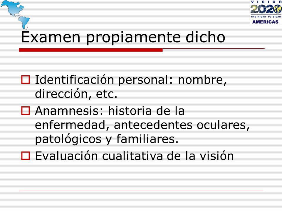 Examen propiamente dicho Identificación personal: nombre, dirección, etc. Anamnesis: historia de la enfermedad, antecedentes oculares, patológicos y f