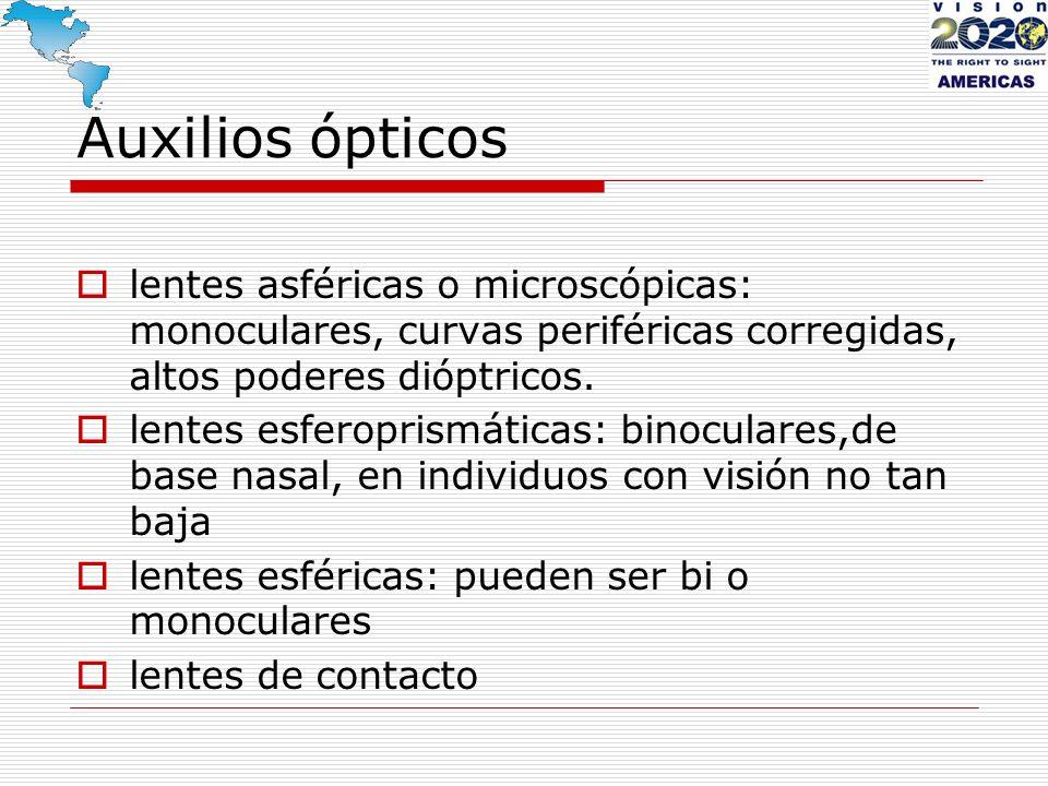 Auxilios ópticos lentes asféricas o microscópicas: monoculares, curvas periféricas corregidas, altos poderes dióptricos. lentes esferoprismáticas: bin