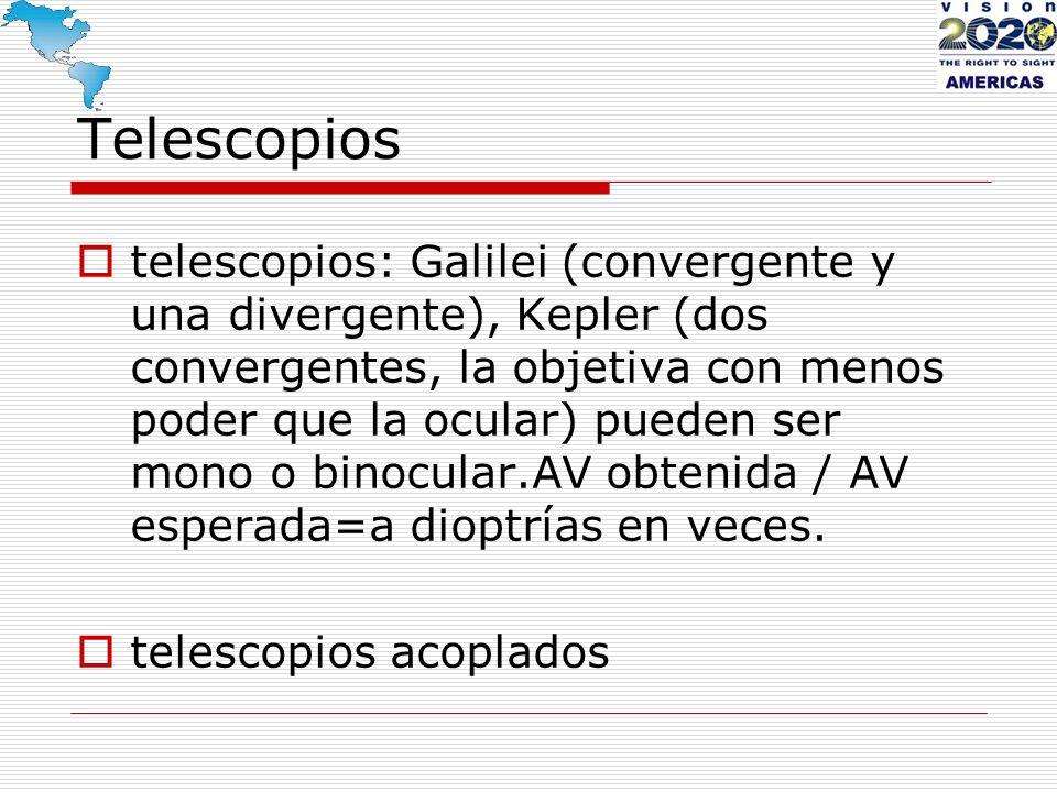 Telescopios telescopios: Galilei (convergente y una divergente), Kepler (dos convergentes, la objetiva con menos poder que la ocular) pueden ser mono