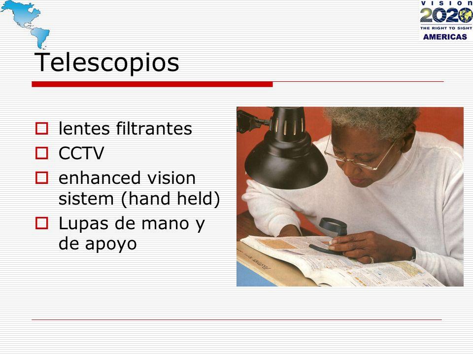 Telescopios lentes filtrantes CCTV enhanced vision sistem (hand held) Lupas de mano y de apoyo