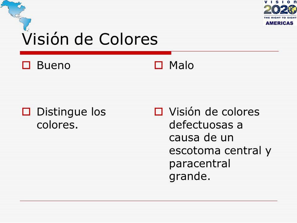 Visión de Colores Bueno Distingue los colores. Malo Visión de colores defectuosas a causa de un escotoma central y paracentral grande.