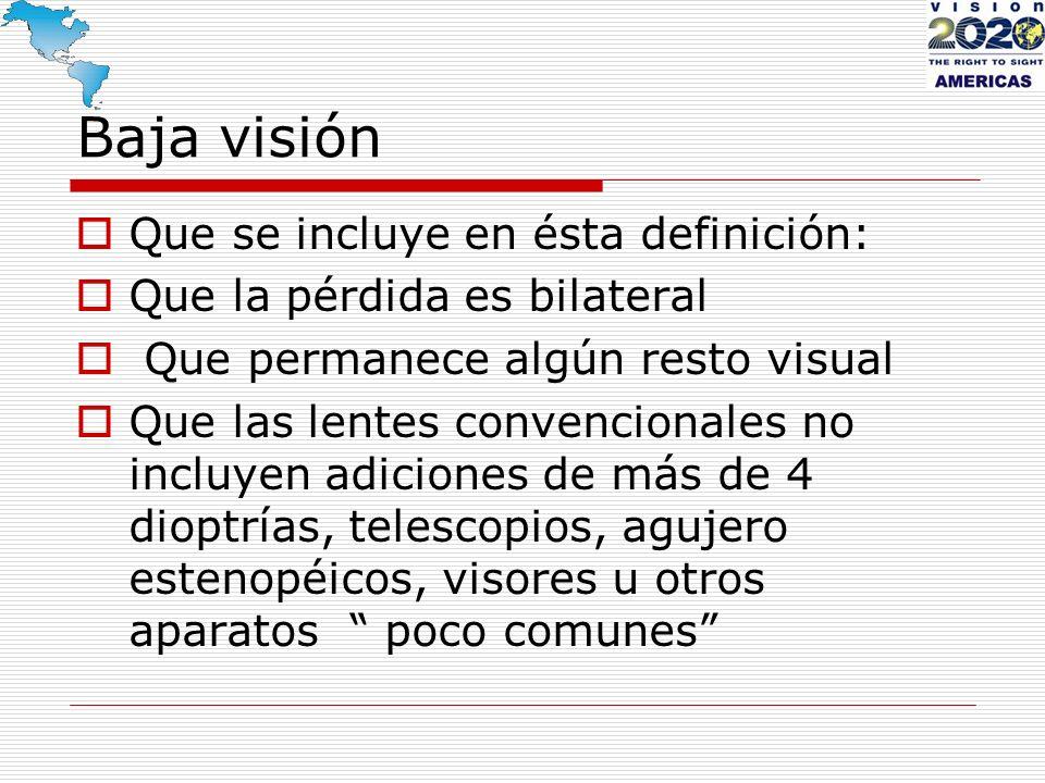 La baja visión puede ser: congénita habilitación (catarata, retinopatía, glaucoma, albinismo, neuropatías, malformaciones) adquirida rehabilitación (trauma, congénitas con presentación tardía, degeneraciones seniles)