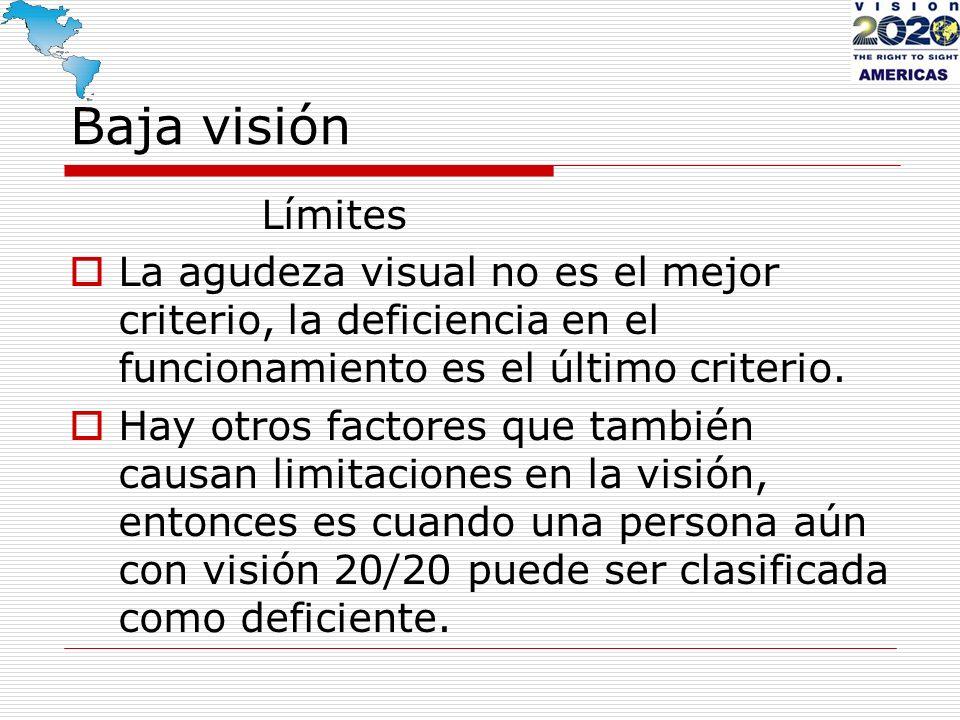 Baja visión Límites La agudeza visual no es el mejor criterio, la deficiencia en el funcionamiento es el último criterio. Hay otros factores que tambi