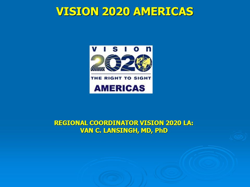FOUNDED IN 2001 IN BUENOS AIRES, ARGENTINA IAPB EXERCISES THE CHAIR PAAO AND PAHO ARE THE CO-CHAIRS TECHNICAL SUBCOMITTEES: CATARACT ROP/CHILDHOOD BLINDNESS DIABETIC RETINOPATHY REFRACTIVE ERRORS LOW VISION ADVOCACY MONITORING AND EVALUATION BULLETIN WEBSITE: WWW.V2020LA.ORG VISION 2020 LATIN AMERICA