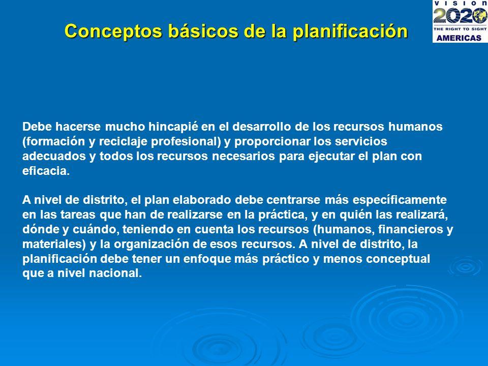 Conceptos básicos de la planificación Debe hacerse mucho hincapié en el desarrollo de los recursos humanos (formación y reciclaje profesional) y proporcionar los servicios adecuados y todos los recursos necesarios para ejecutar el plan con eficacia.