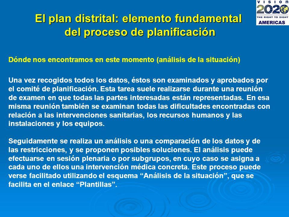 El plan distrital: elemento fundamental del proceso de planificación Dónde nos encontramos en este momento (análisis de la situación) Una vez recogidos todos los datos, éstos son examinados y aprobados por el comité de planificación.