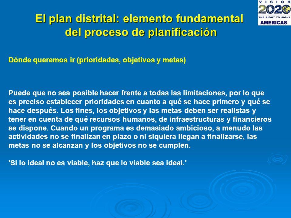 El plan distrital: elemento fundamental del proceso de planificación Dónde queremos ir (prioridades, objetivos y metas) Puede que no sea posible hacer frente a todas las limitaciones, por lo que es preciso establecer prioridades en cuanto a qué se hace primero y qué se hace después.