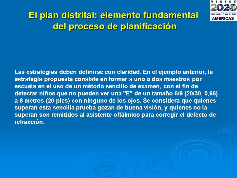 El plan distrital: elemento fundamental del proceso de planificación Las estrategias deben definirse con claridad.