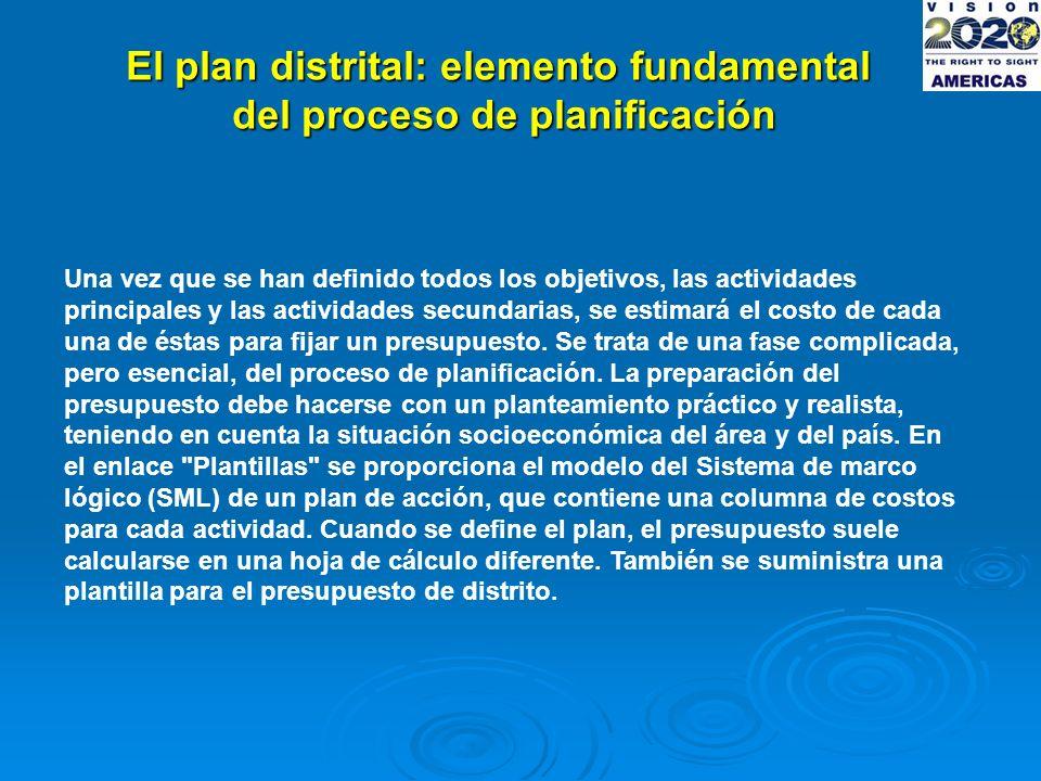El plan distrital: elemento fundamental del proceso de planificación Una vez que se han definido todos los objetivos, las actividades principales y las actividades secundarias, se estimará el costo de cada una de éstas para fijar un presupuesto.
