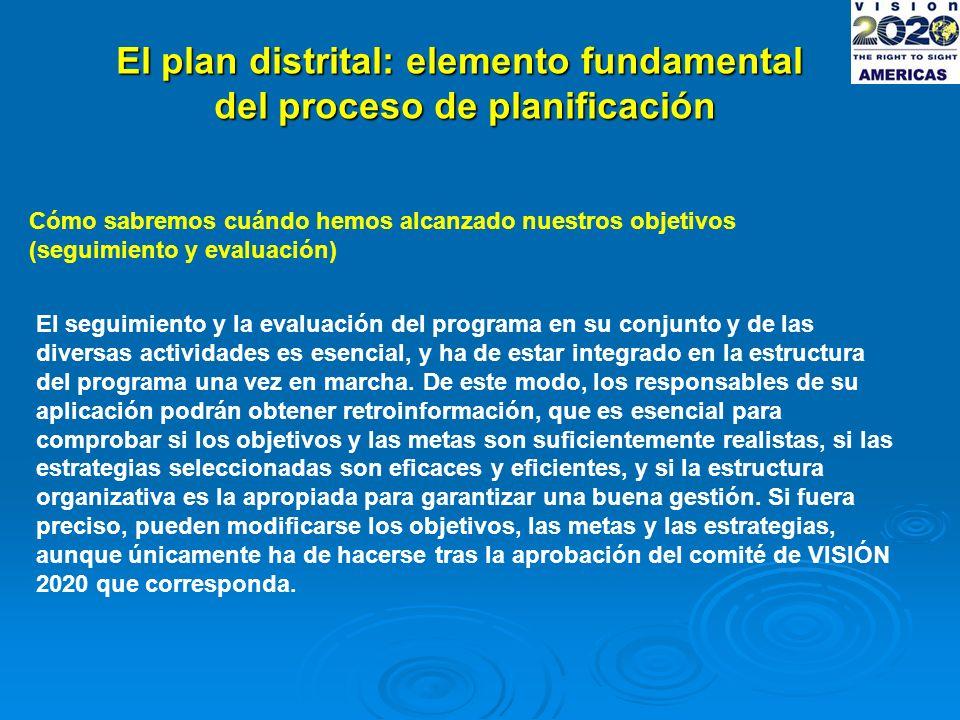 El plan distrital: elemento fundamental del proceso de planificación Cómo sabremos cuándo hemos alcanzado nuestros objetivos (seguimiento y evaluación) El seguimiento y la evaluación del programa en su conjunto y de las diversas actividades es esencial, y ha de estar integrado en la estructura del programa una vez en marcha.
