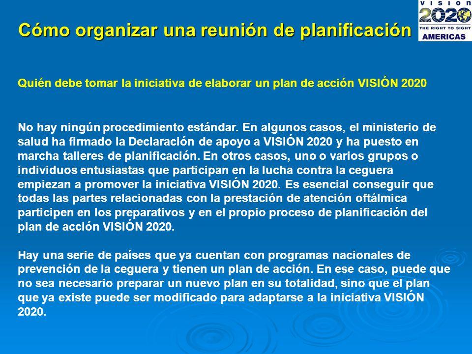 Cómo organizar una reunión de planificación Quién debe tomar la iniciativa de elaborar un plan de acción VISIÓN 2020 No hay ningún procedimiento estándar.
