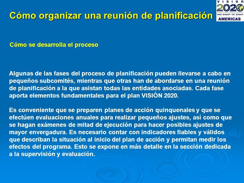 Cómo organizar una reunión de planificación Cómo se desarrolla el proceso Algunas de las fases del proceso de planificación pueden llevarse a cabo en pequeños subcomités, mientras que otras han de abordarse en una reunión de planificación a la que asistan todas las entidades asociadas.