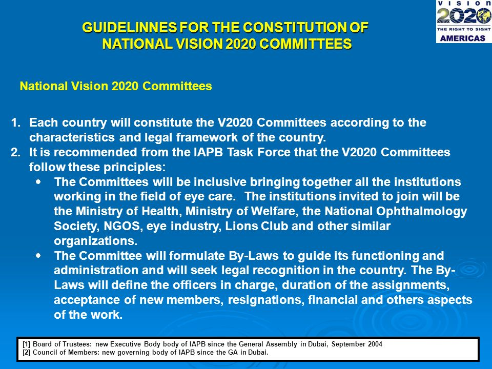 GUIDELINNES FOR THE CONSTITUTION OF NATIONAL VISION 2020 COMMITTEES National Vision 2020 Committees 1.Each country will constitute the V2020 Committees according to the characteristics and legal framework of the country.