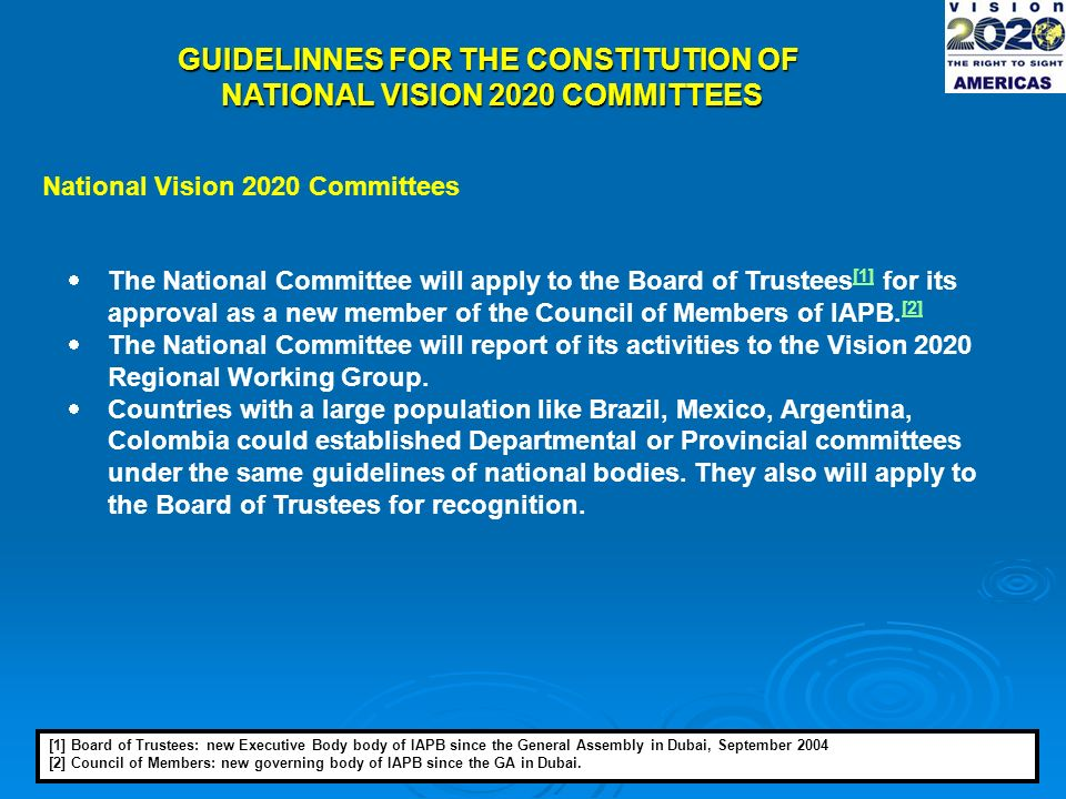 GUIDELINNES FOR THE CONSTITUTION OF NATIONAL VISION 2020 COMMITTEES National Vision 2020 Committees The National Committee will apply to the Board of Trustees [1] for its approval as a new member of the Council of Members of IAPB.