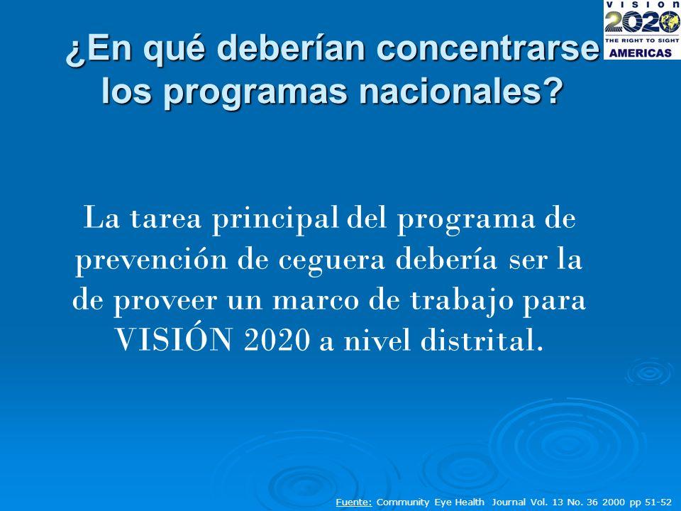 ¿En qué deberían concentrarse los programas nacionales.